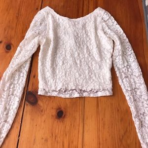 White Lace Abercrombie crop top!